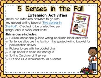 Five Senses Full Page Guided Writing Book and Extension Activities