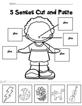 Five Senses Labeling Cut and Paste