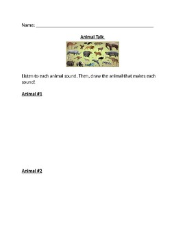 Five Senses unit - ANIMAL TALK