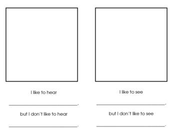 Five Senses- Likes and Dislikes Booklet