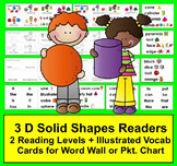 3D Shapes - Solid Shapes Readers - 2 Reading Levels + Illustrated Word Wall