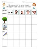 Spanish Five Senses Nature Walk Checklist
