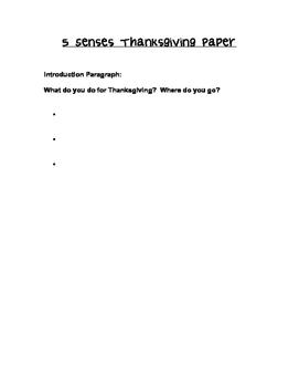 Five Senses Paper: Thanksgiving