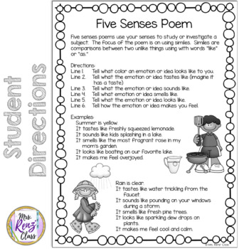 Five Senses Poem (FREEBIE!)