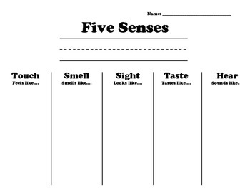 Five Senses Recording Sheet