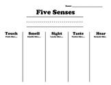 Five Senses Recording Sheet