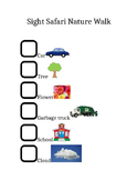 Five Senses- Sight- Nature Walk Checklist
