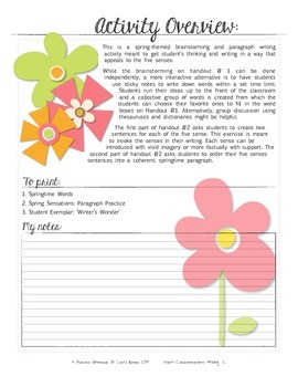 Five Senses - Spring Themed Paragraph Writing Activity