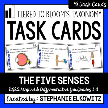 Five Senses and Sensory Processing Task Cards (Differentiated and Tiered)