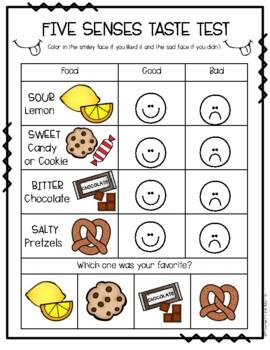 five senses taste test by preschoolers and sunshine tpt. Black Bedroom Furniture Sets. Home Design Ideas