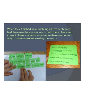Five Senses Unit with Sentence Jumbles