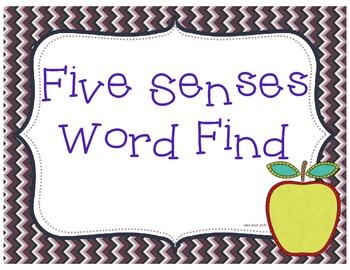 Five Senses Word Find