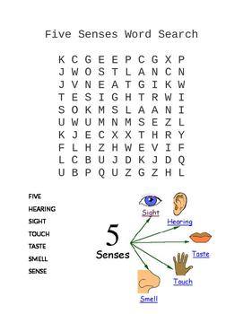 Five Senses Word Search
