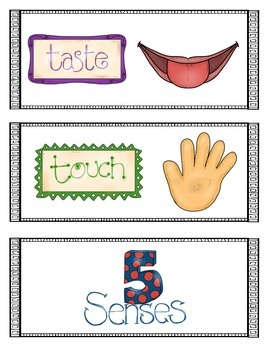 Five Senses Writing Center Cards