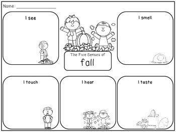 Five Senses of Fall Graphic Organizer