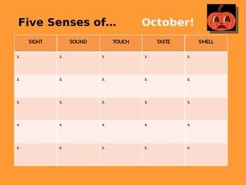 Five Senses of October Creative Writing Activity