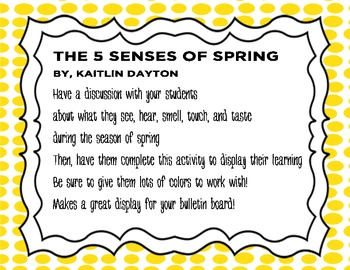 Five Senses of Spring - Create a flower - Simple Science