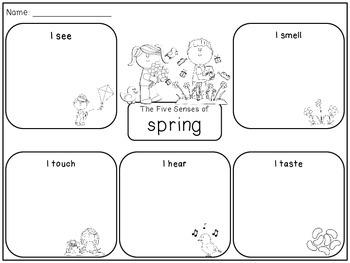 Five Senses of Spring Graphic Organizer