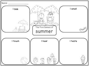 Five Senses of Summer Graphic Organizer