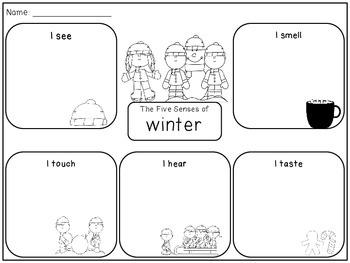 Five Senses of Winter Graphic Organizer