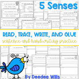 Five Senses read, trace, glue, and draw