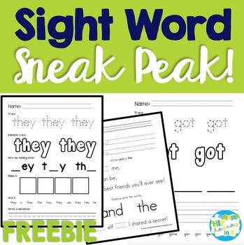 Five Sight Word FREEBIES!