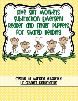 Five Silly Monkeys Subtraction Emergent Reader for Zoo Animals Math