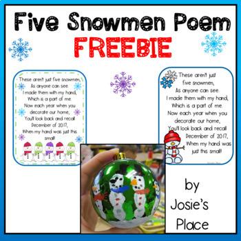 Five Snowmen Poem 2018 FREEBIE!