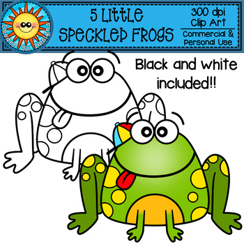 Five Speckled Frogs Clip Art