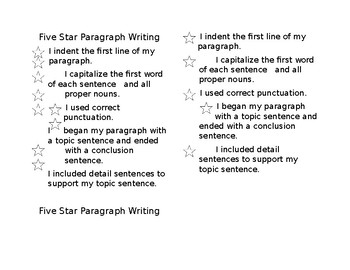 Five Star Paragraph Rubric