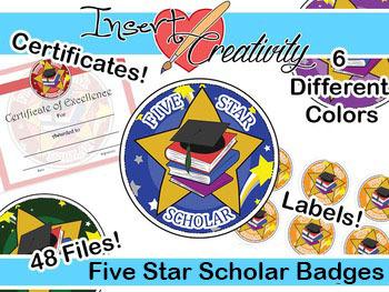 Five Star Scholar Badges, Certificates, Labels