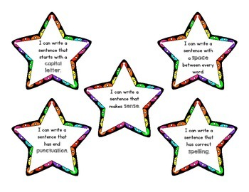 Five Star Sentence Anchor Chart and I Can Cards