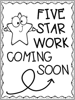 Five Star Work Coming Soon Printable Display Posters