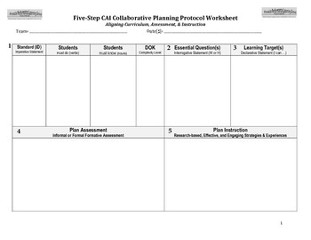 Five-Step Collaborative Planning Worksheet