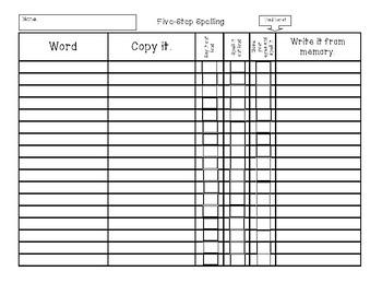 Five-Step Spelling Process template worksheet