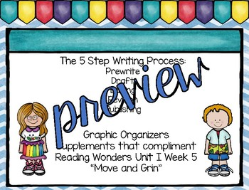 Five Step Writing Process: First Grade Reading Wonders Unit 1 BUNDLE