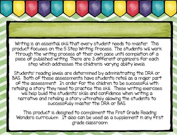Five Step Writing Process: First Grade Unit 1 Week 2