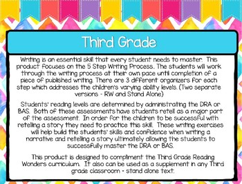 Five Step Writing Process: Third Grade Reading Wonders Unit 3 Week 2