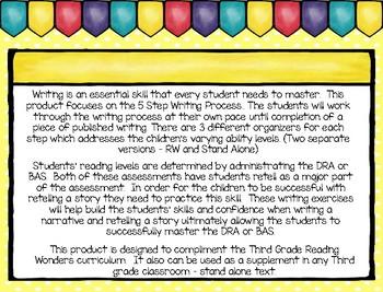 Five Step Writing Process: Third Grade Reading Wonders Unit 1 Week 1