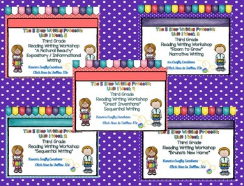 Five Step Writing Process: Third Grade Unit 1 Reading Wonders BUNDLE: Week 1 - 5