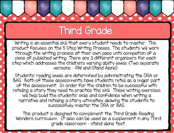 Five Step Writing Process: Third Grade Unit 2 Reading Wonders BUNDLE: Week 1 - 5