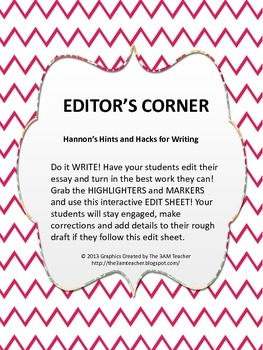 Five Steps to the Perfect Essay: Edit Sheet