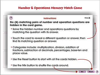 Five Strands of Math: Memory Match Game - PC Gr. 3-5