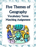 Five Themes of Geography Vocabulary Matching Assignment