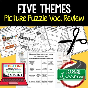 Five Themes Picture Puzzle, Test Prep, Unit Review, Study Guide