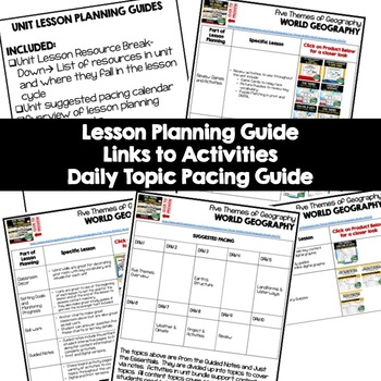 Five Themes of Geography Lesson Plan Guide for World Geography, Back To School