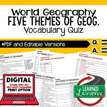 Five Themes Vocabulary Quiz Geography Assessment