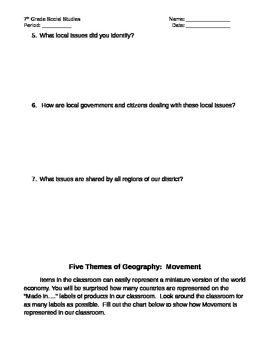 Five Themes Worksheets