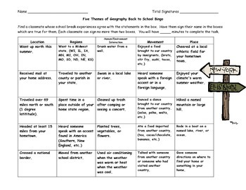 Five Themes of Geography Back to School Bingo