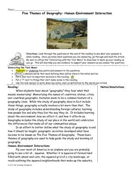 Five Themes of Geography Close Reading Pack